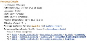 Amazon Canada Ranking for Idea Mapping April 6, 2010