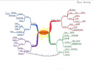 Ryan Bouslog - Idea Map or Mind Map of Deciding on Spring Break Plans