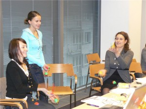 Juggling Practice During Idea Mapping Workshop in Poland