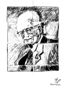Janet Forton's Edwards Deming Portrait Drawn During 1996 Mind Mapping or Idea Mapping Workshop at EDS